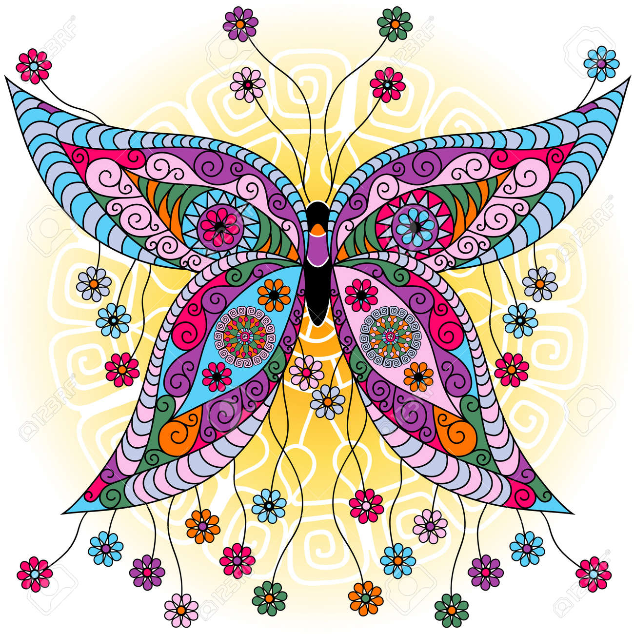 fantasy spring vintage colorful butterfly with flowers on sunny