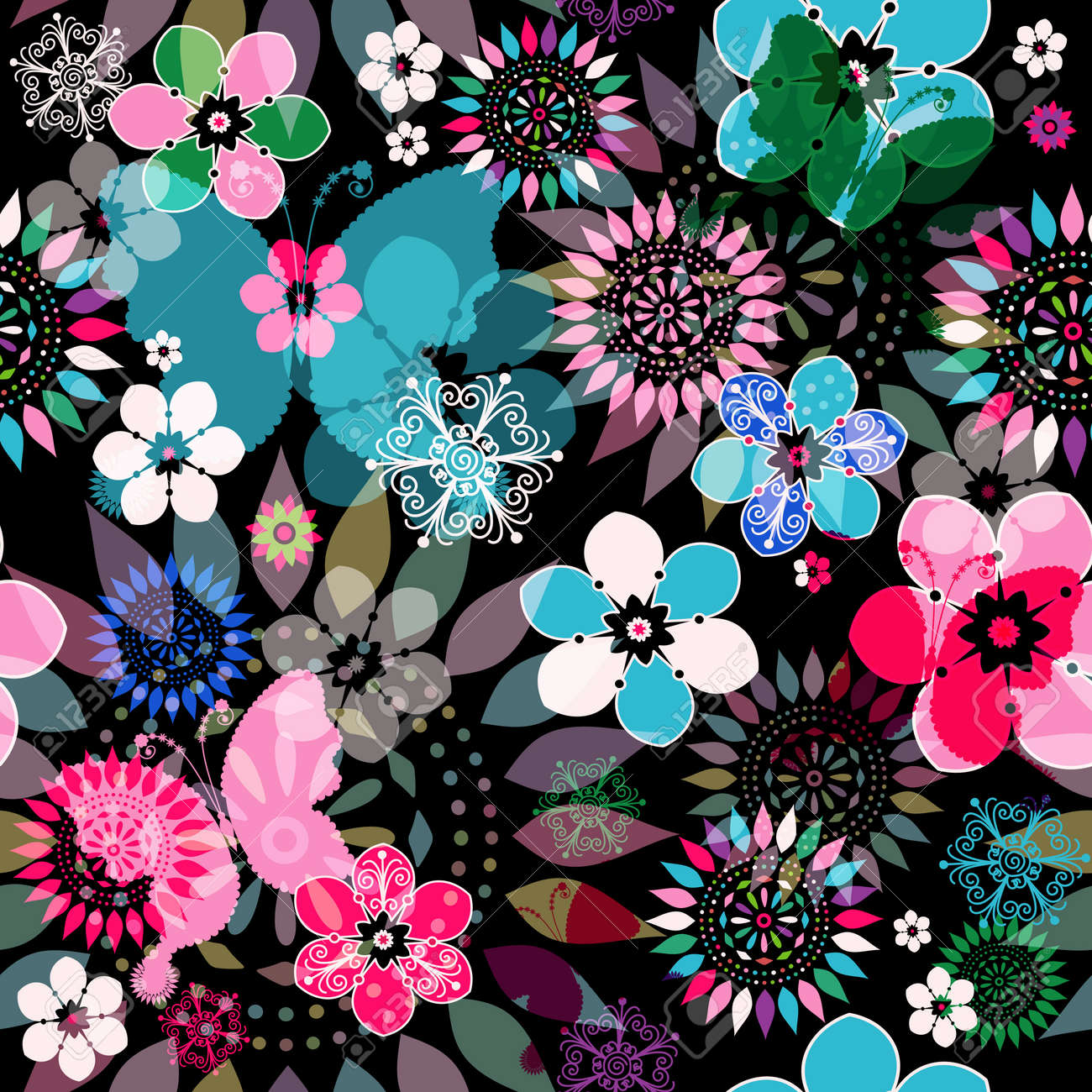 Seamless dark floral pattern with colorful flowers,  translucent butterflies and decorative circles Stock Vector - 21960978