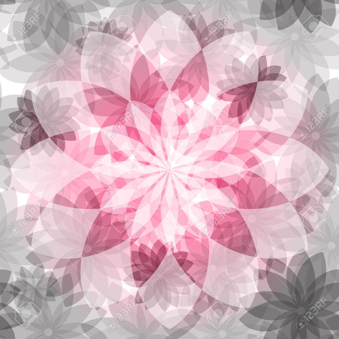 Pink-gray floral seamless pattern with transparent flowers Stock Vector - 21960987