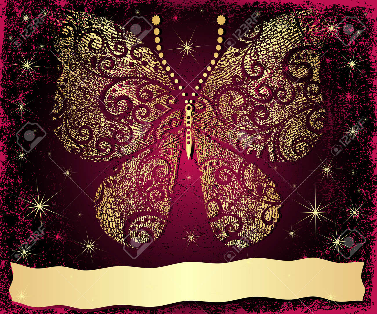 Purple Grungy Christmas Frame With Gold Grungy Butterfly And ...