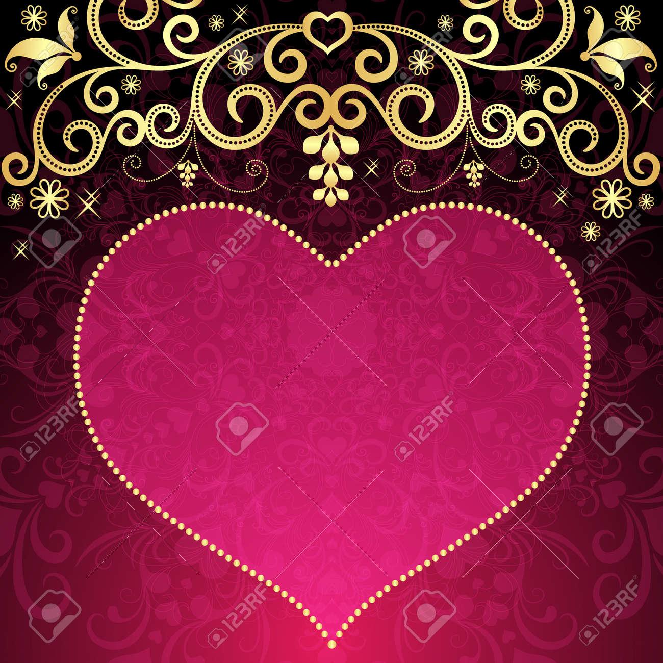 San Valentín Marco Floral Con Gran Corazón Rosa Translúcido Y El ...