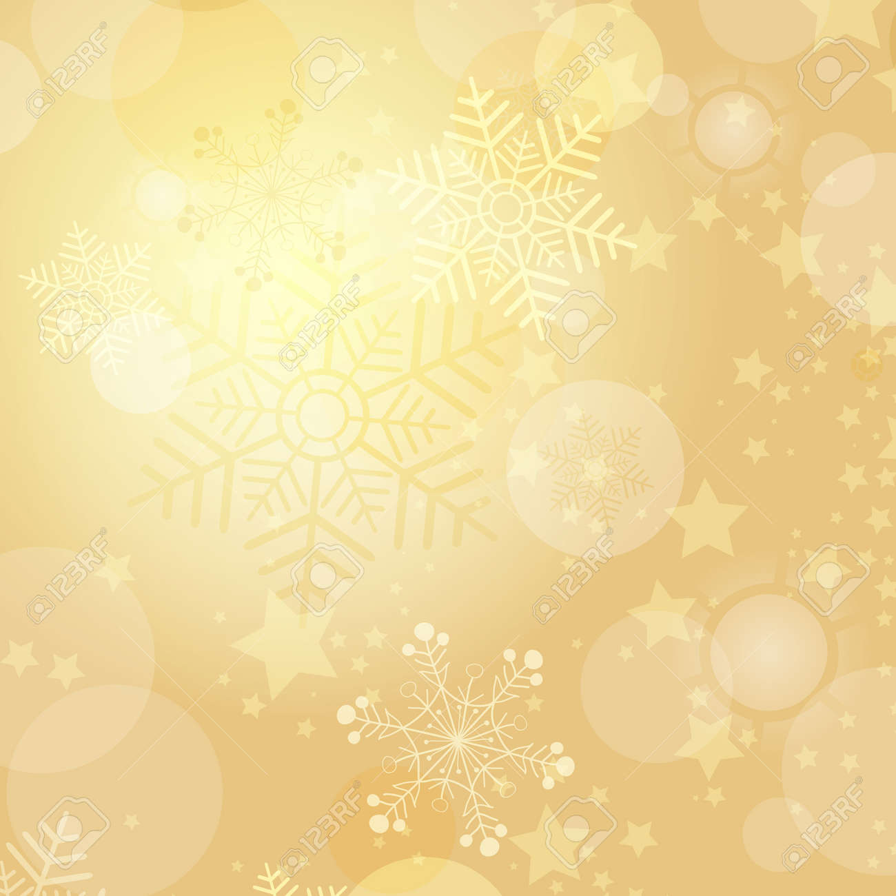 Christmas gold frame with balls and snowflakes (vector eps 10) - 33569557