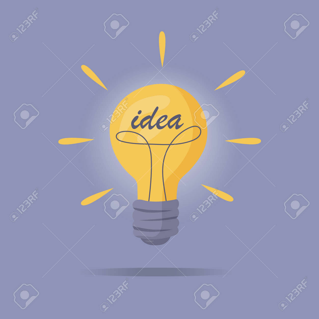 The light bulb is on. Vector illustration of incandescent lamp. The concept of creative and unique new idea, innovation. - 158087007