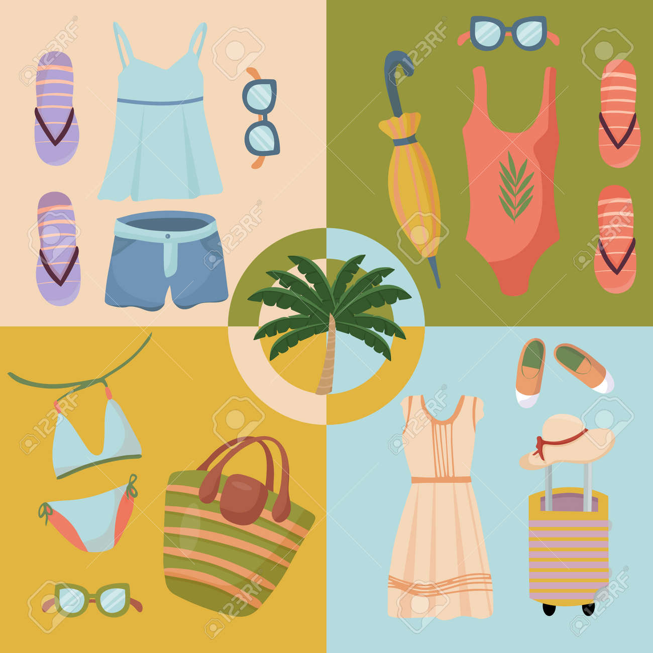 Summer clothing sets. Beach Accessories. Fashionable outfit for tourism. Vector items and things for vacation and travel. Flat design style on four multicolor banners. - 166682253