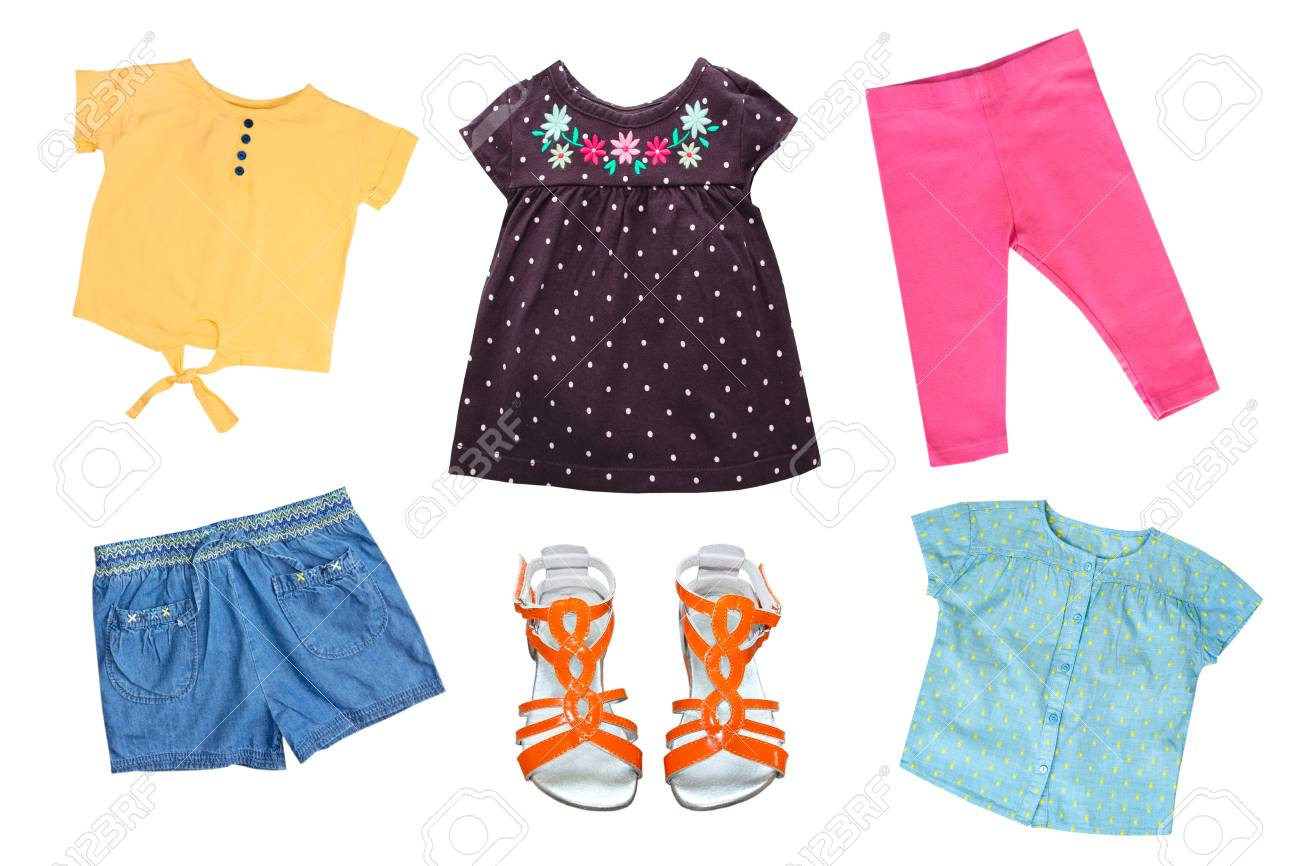 b87c7389f2 Collection of child's clothes. Kid's summerclothing set isolated. Stock  Photo - 101295477