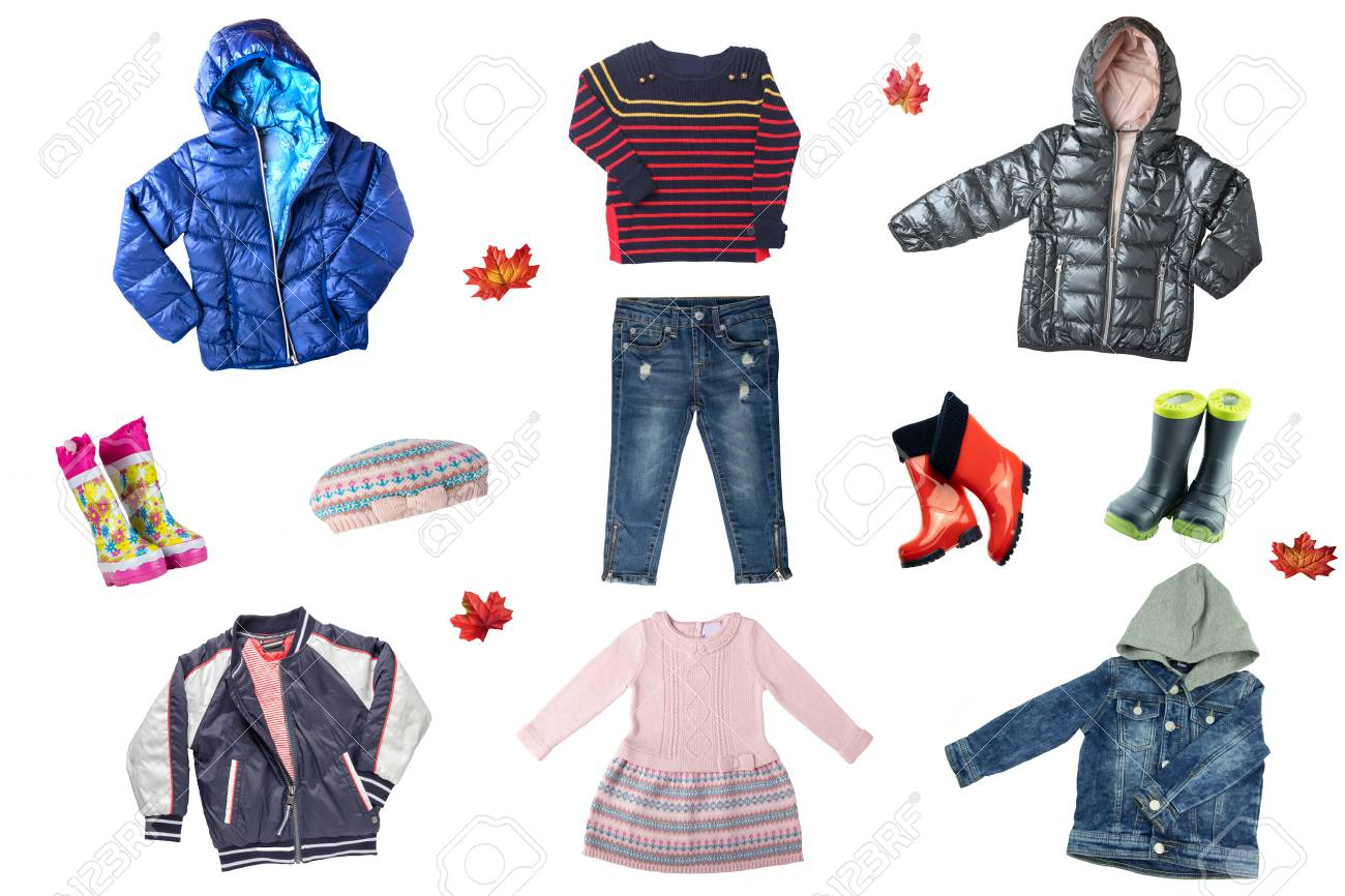 Child clothes isolated. Collage set of children clothes isolated on a white background. Concept autumn or winter fashion for children. - 115820076