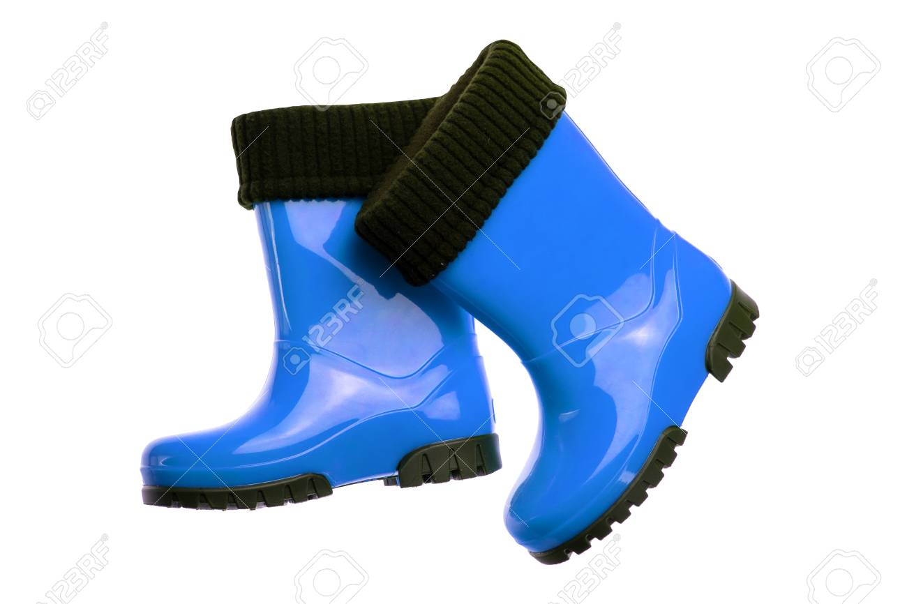 Pair Blue Rubber Boots.. Stock Photo