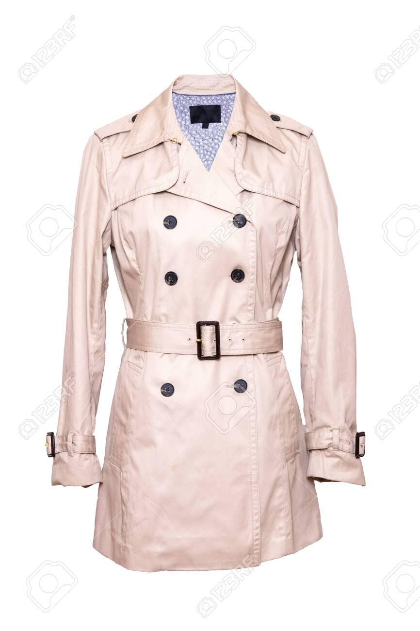 pretty nice 107b1 8b3db Woman coat isolated. A luxurious and stylish elegant female beige..