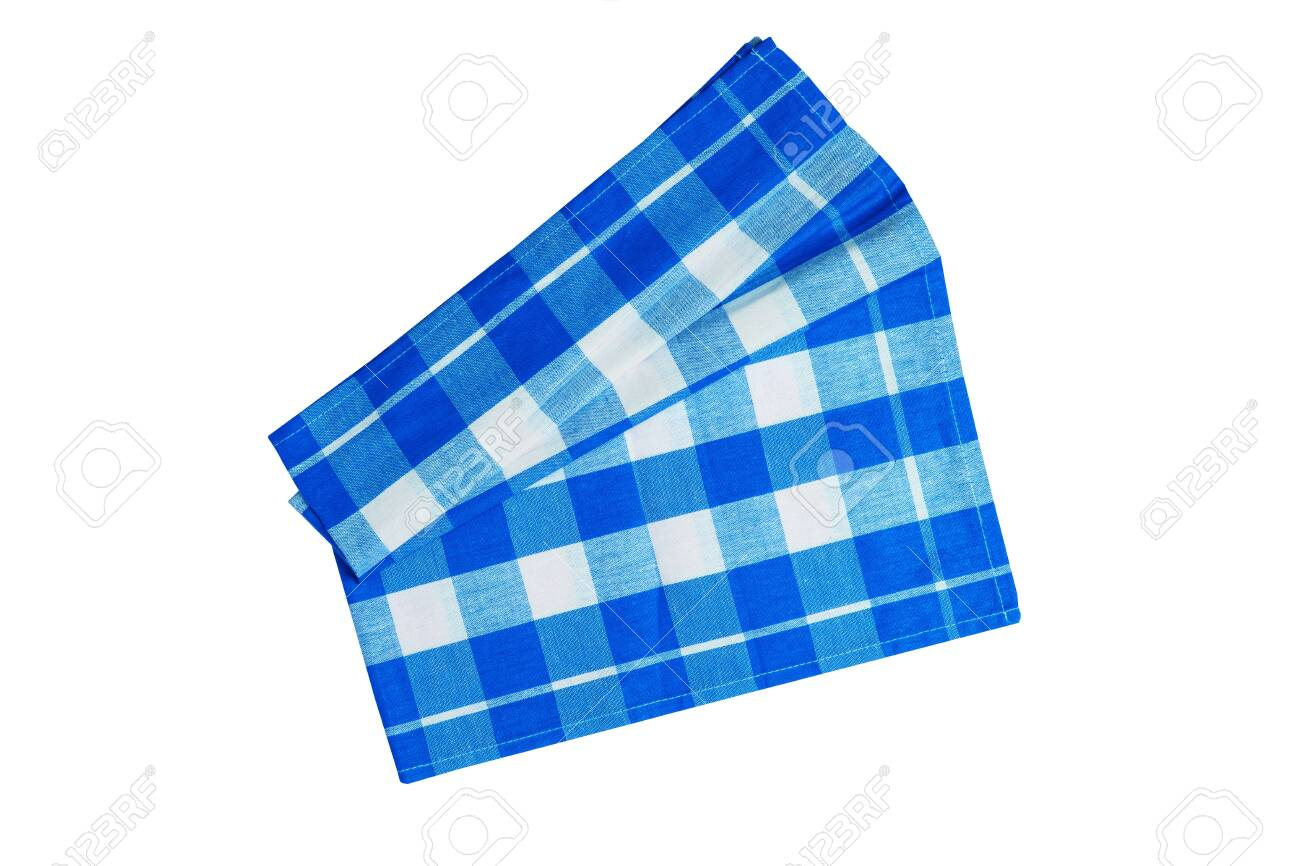 Closeup of a blue and white checkered napkin or tablecloth isolated..