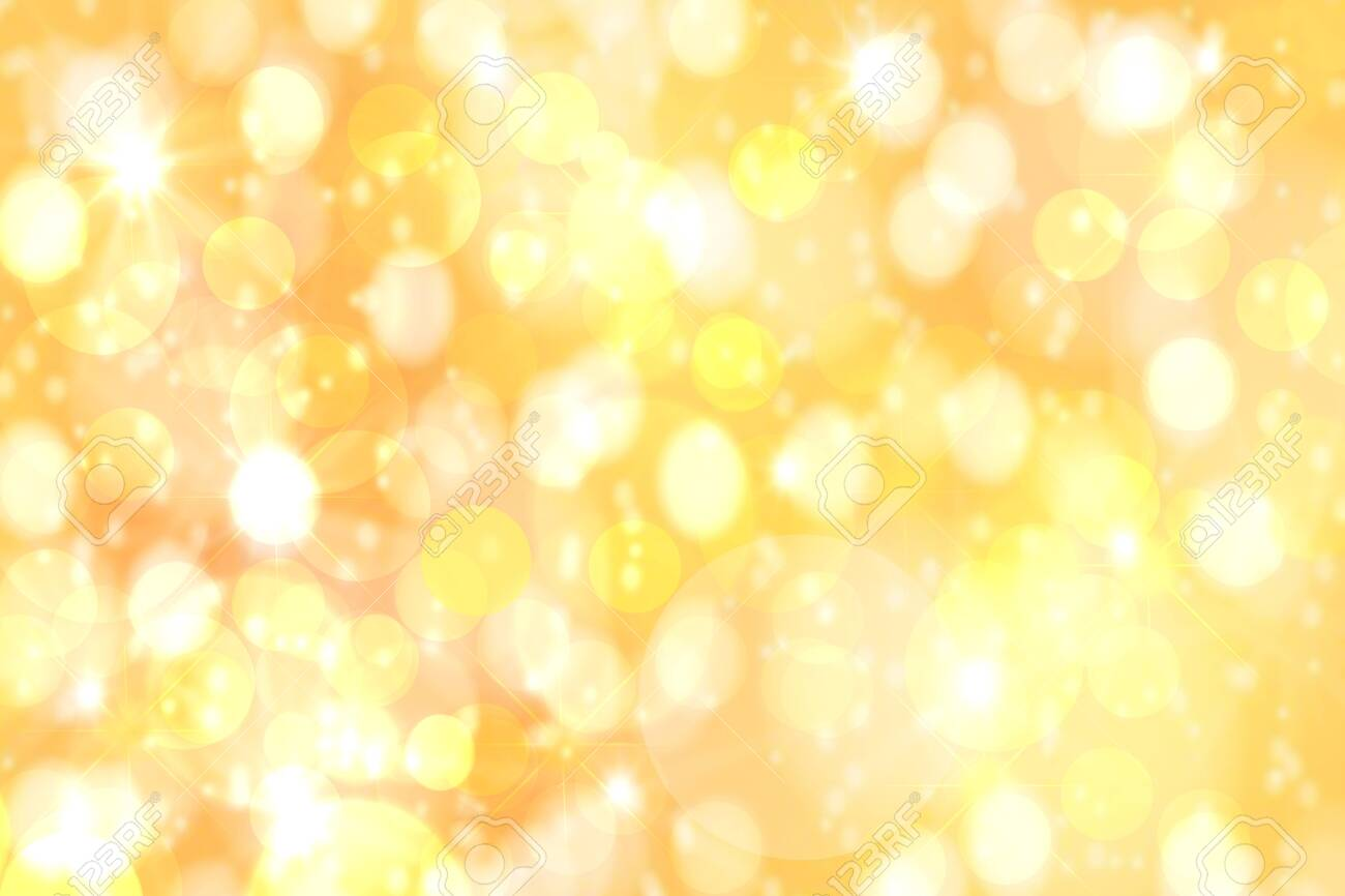 Festive backgrounds. Abstract festive golden yellow bokeh background texture with defocused lights. Christmas lights, blurry lights, glitter sparkle. - 121198206