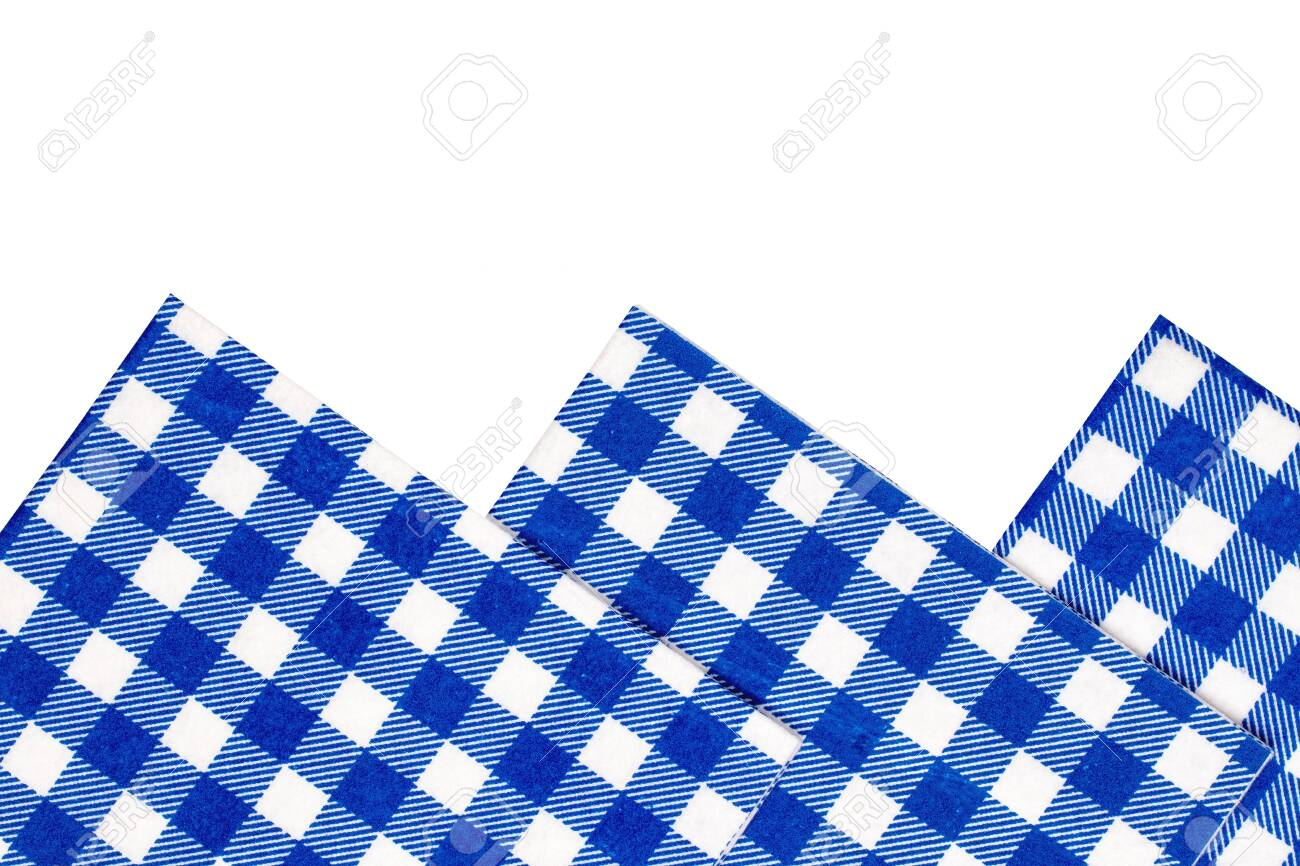Closeup of a set of blue and white checkered kitchen cloth or..