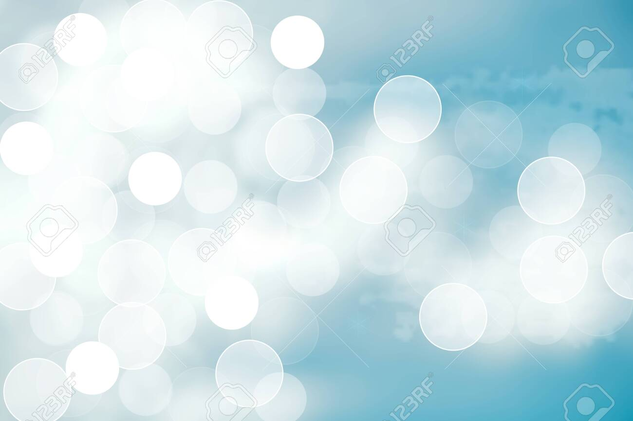 Abstract bright gradient motion spring or summer landscape texture with natural blue lights and white bright cloudy and sunny sky. Autumn or summer background with copy space. - 129226088
