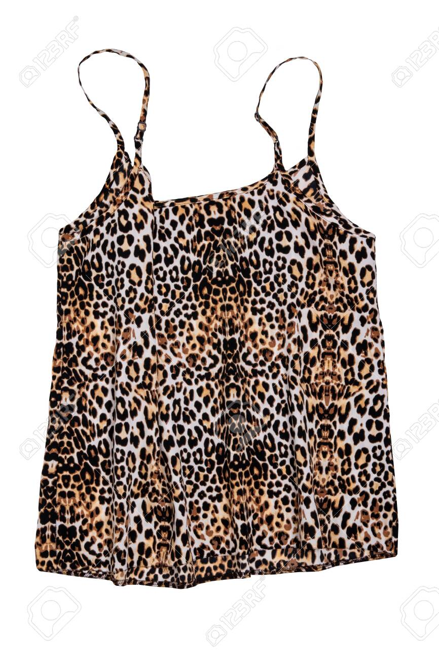 Night gown isolated. Close-up of female silk night lingerie top with leopard pattern isolated on a white background. Fashionable night wear or nighties. - 140830242