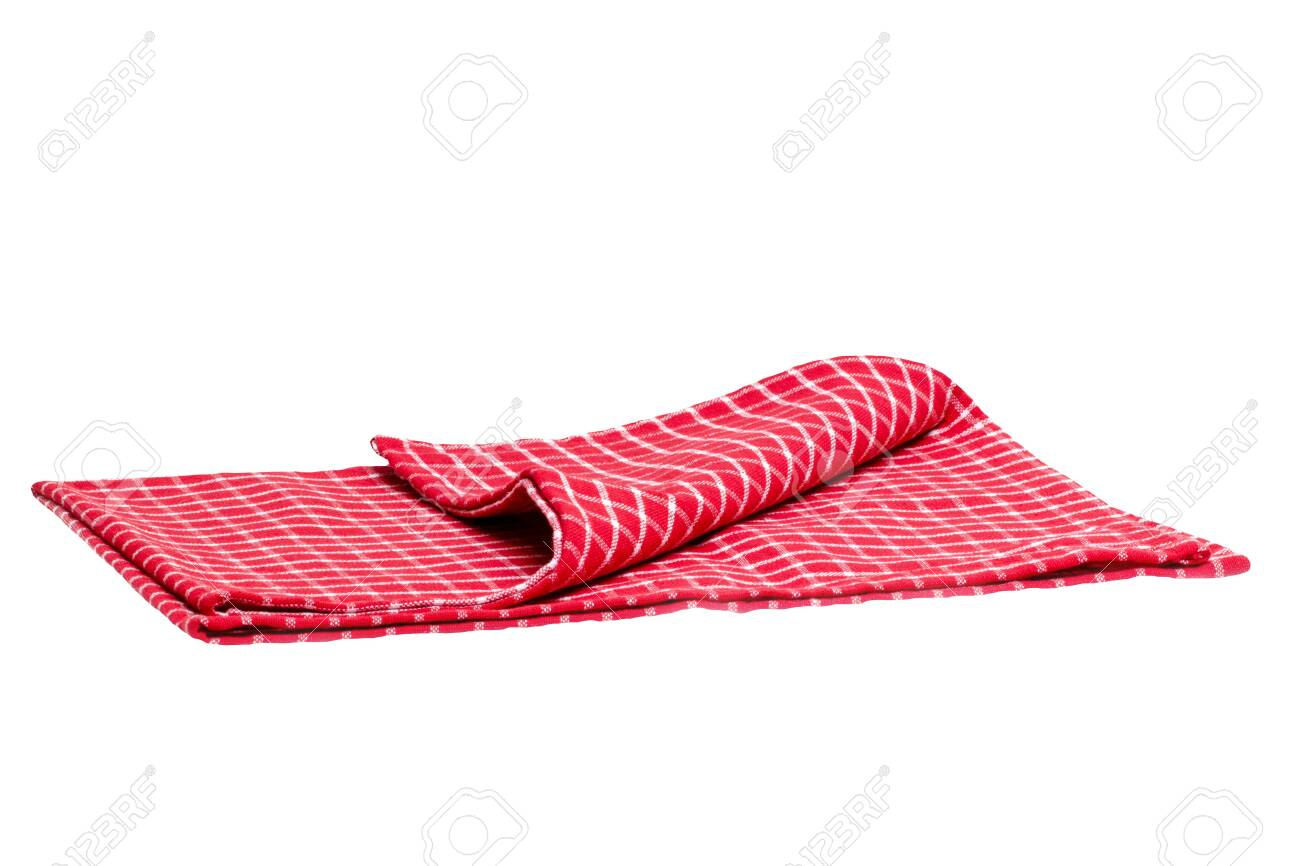 Closeup of a red and white checkered kitchen cloth or napkin isolated on white background. Kitchen accessories. Macro photgraph. - 147420352