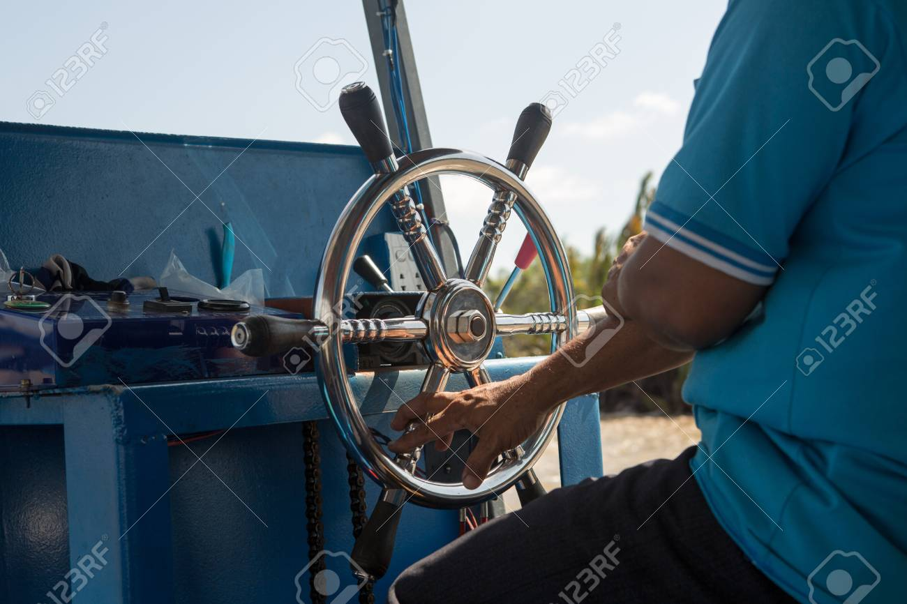 steering wheel on a small boat, hold the steering wheel