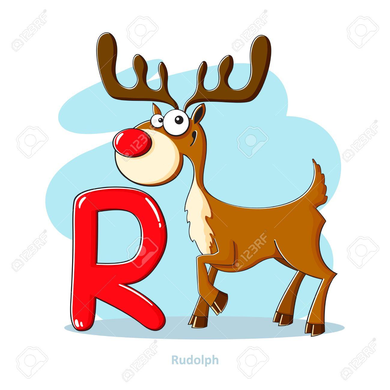 Cartoons alphabet letter r with funny rudolph royalty free banco de imagens cartoons alphabet letter r with funny rudolph altavistaventures Image collections