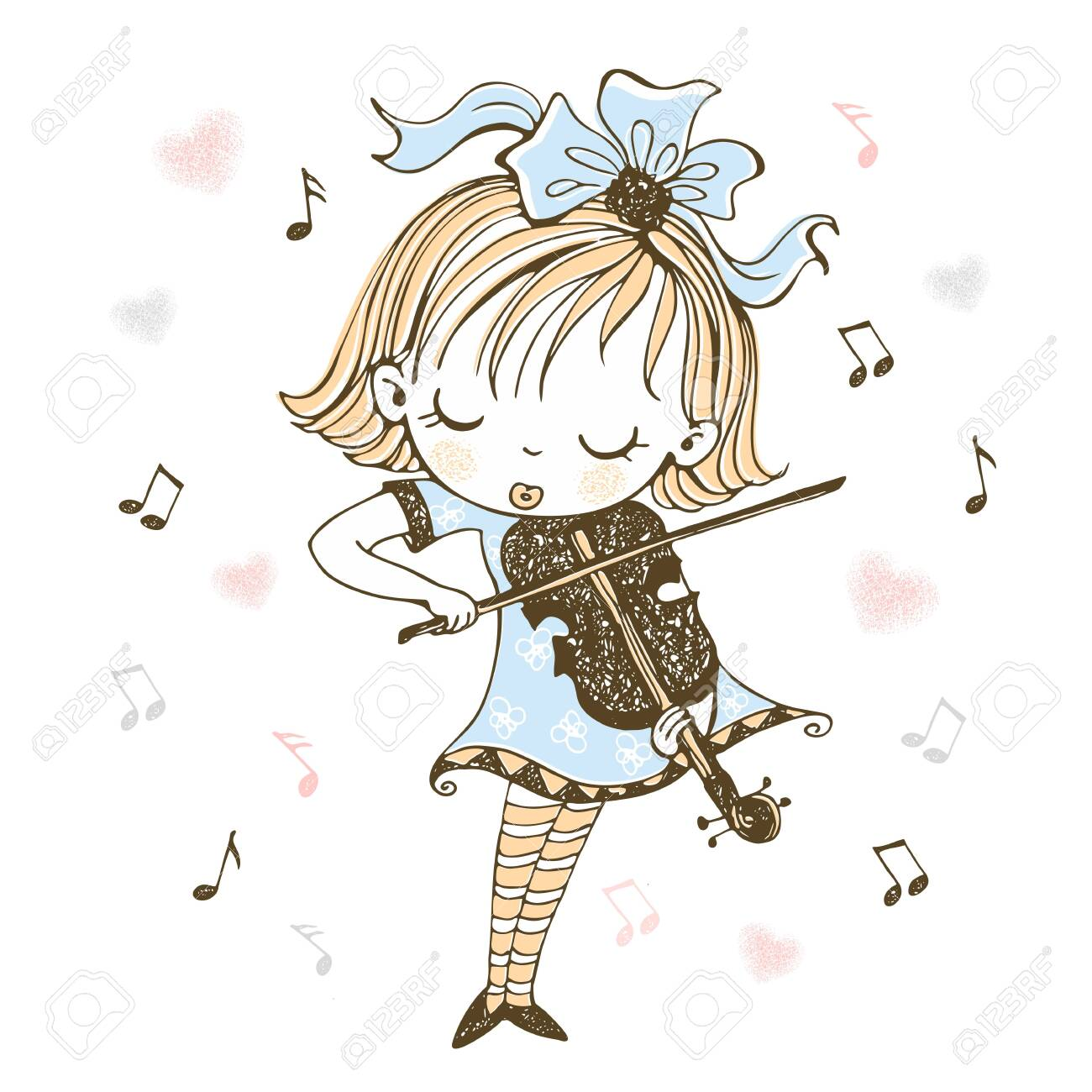 A cute little girl plays the violin. Vector. - 142194740