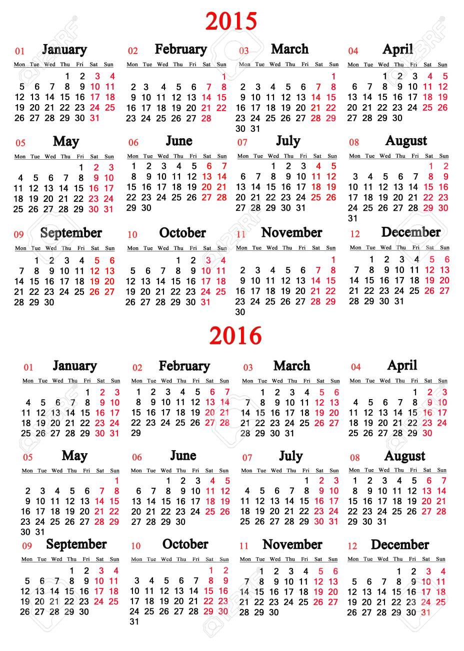 Office Calendar 2016 : Usual office calendar for  years on white background