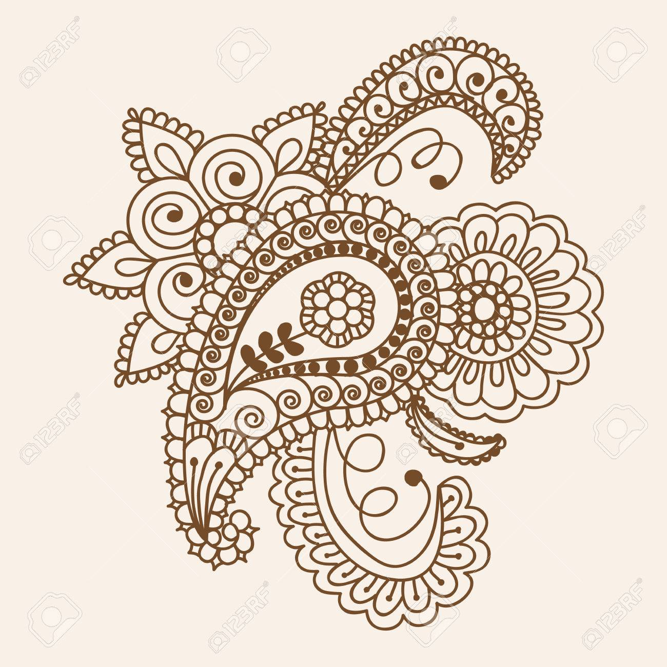 c73e21444 Henna Mehndi Doodles Abstract Floral Paisley Design Elements, Mandala, and  Page Corner Design Vector