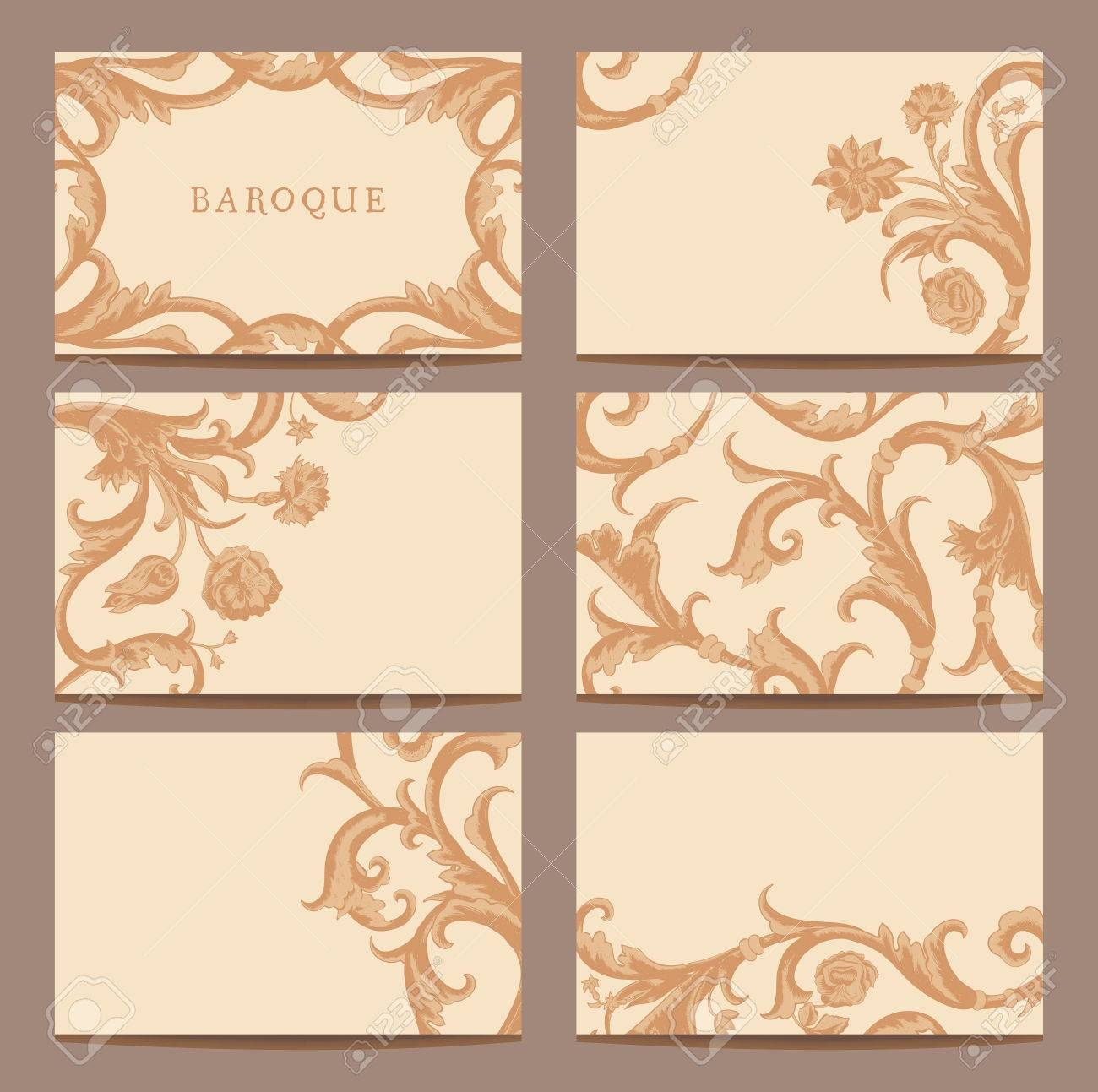 A set of horizontal business cards vintage in baroque style a set of horizontal business cards vintage in baroque style curls and flowers on a reheart Gallery