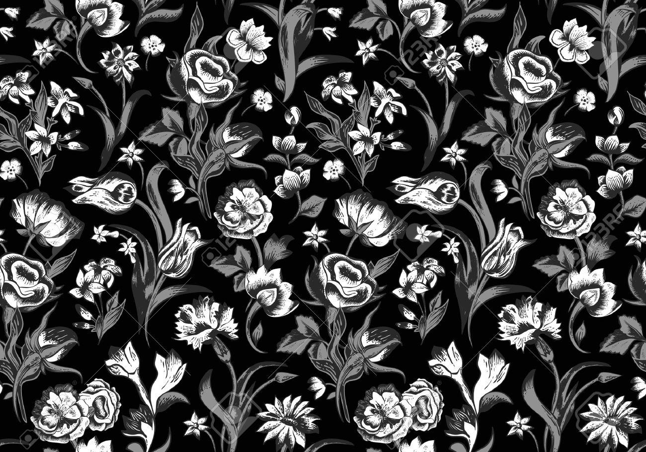 Elegant dark vector seamless vintage floral pattern. White flowers..