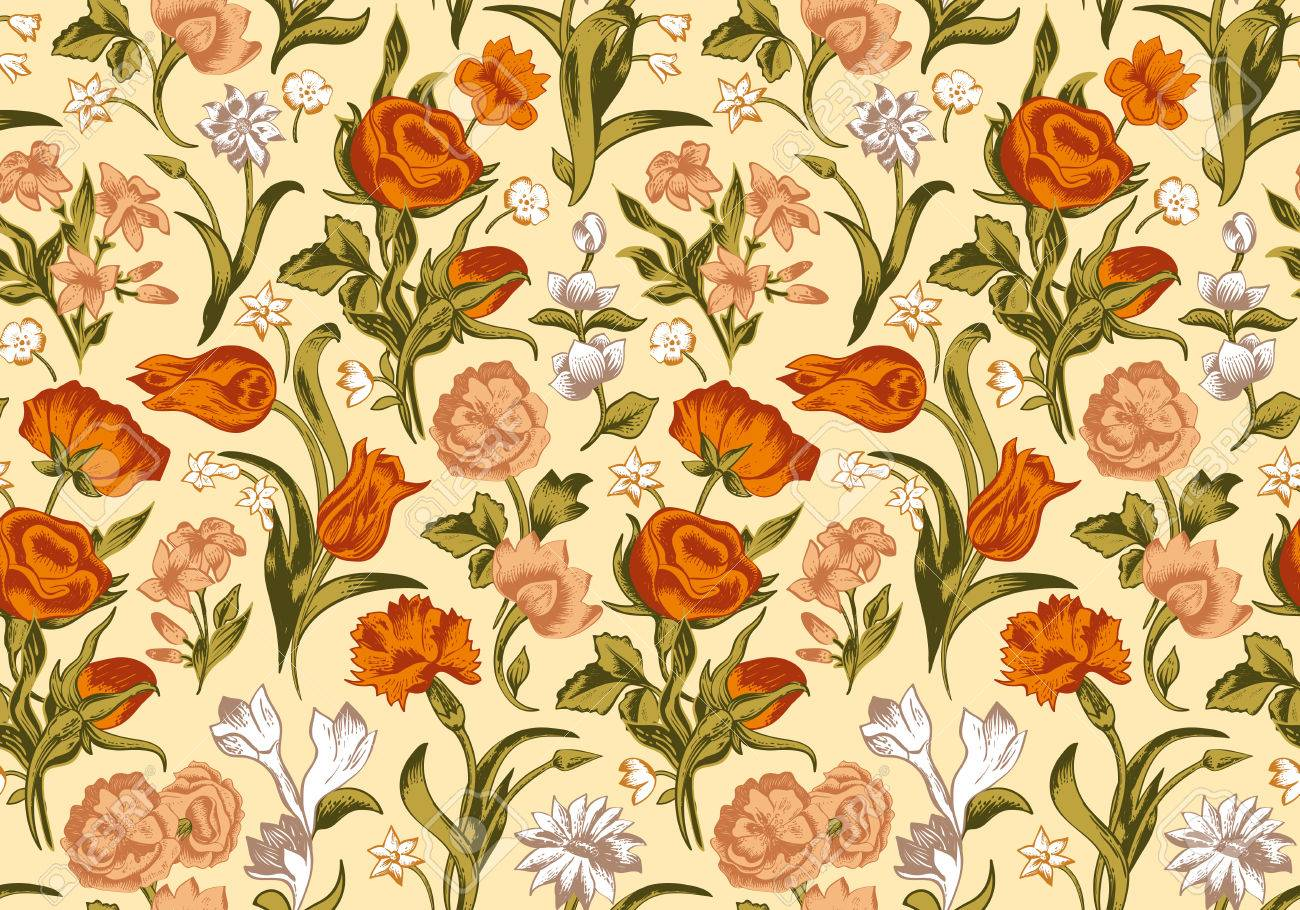 Light Romantic Seamless Vector Vintage Floral Pattern Red Orange