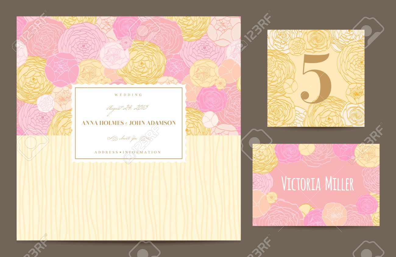 Set Polygraphy To Celebrate The Wedding Invitation Card, Table ...