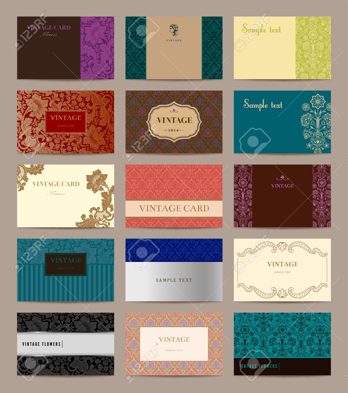 Set of vintage business cards fifteen pieces size 85 x 55 mm set of vintage business cards fifteen pieces size 85 x 55 mm stock vector reheart Choice Image