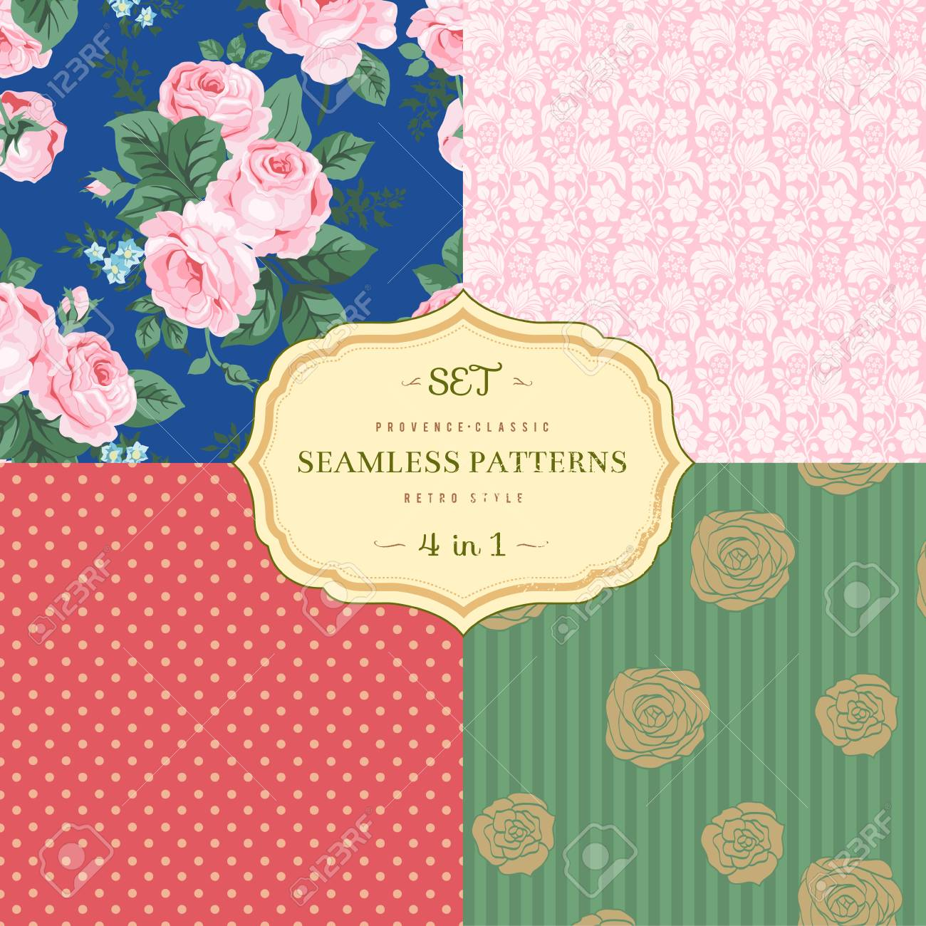 A set of seamless classic pattern Stock Vector - 24965956