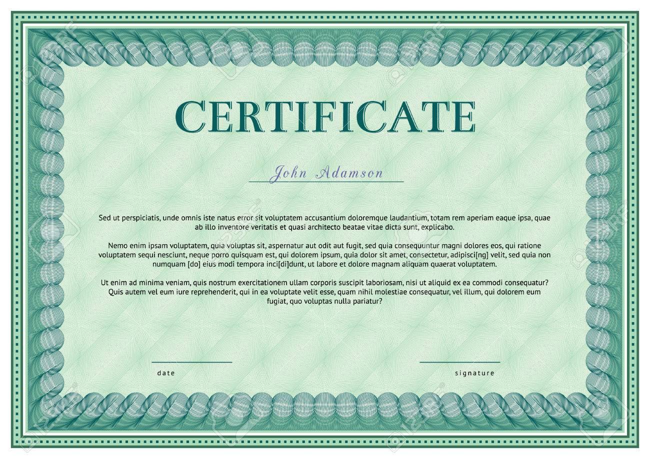 Plantilla Horizontal Certificado Vector Con Elementos De Líneas ...