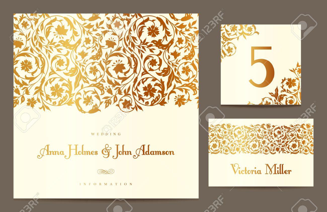 Establecer Fondos Para Celebrar La Boda Tarjeta De Invitación Número De La Tabla Tarjeta De Huésped Ilustración Del Vector Oro Estilizado