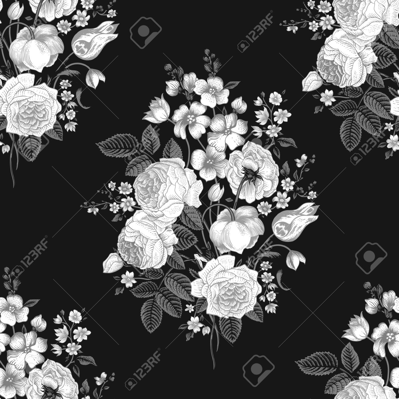 Flower Bouquet Black And White White Flowers on a Black