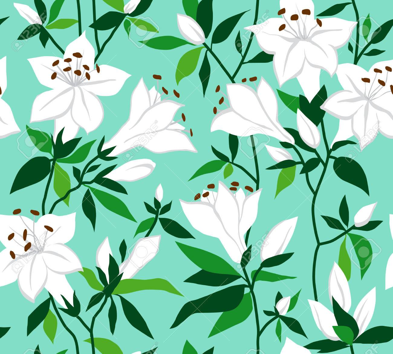 Retro Seamless Floral Background With White Flowers On Azaleas