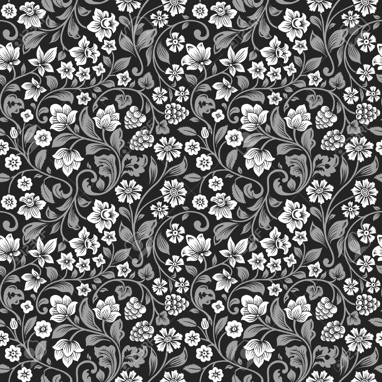 Vector Seamless Vintage Floral Pattern Stylized Silhouettes Of