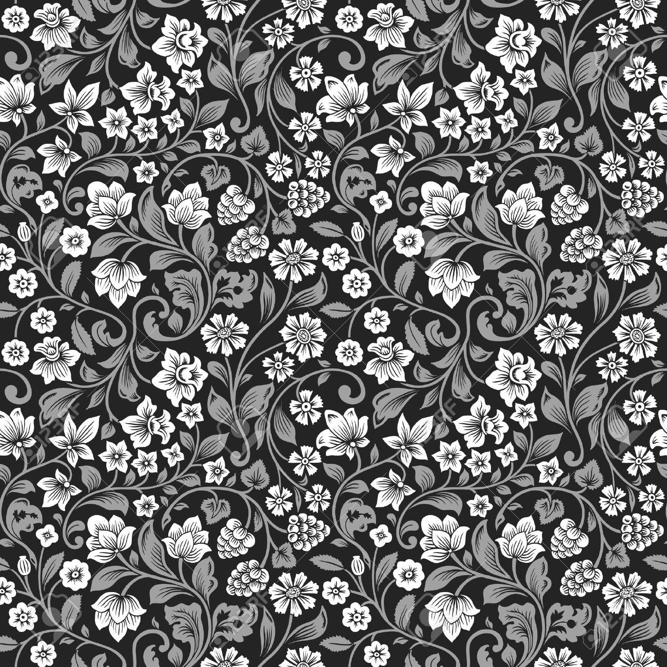 Vector Sin Patron Floral Vintage Siluetas Estilizadas De Flores Y