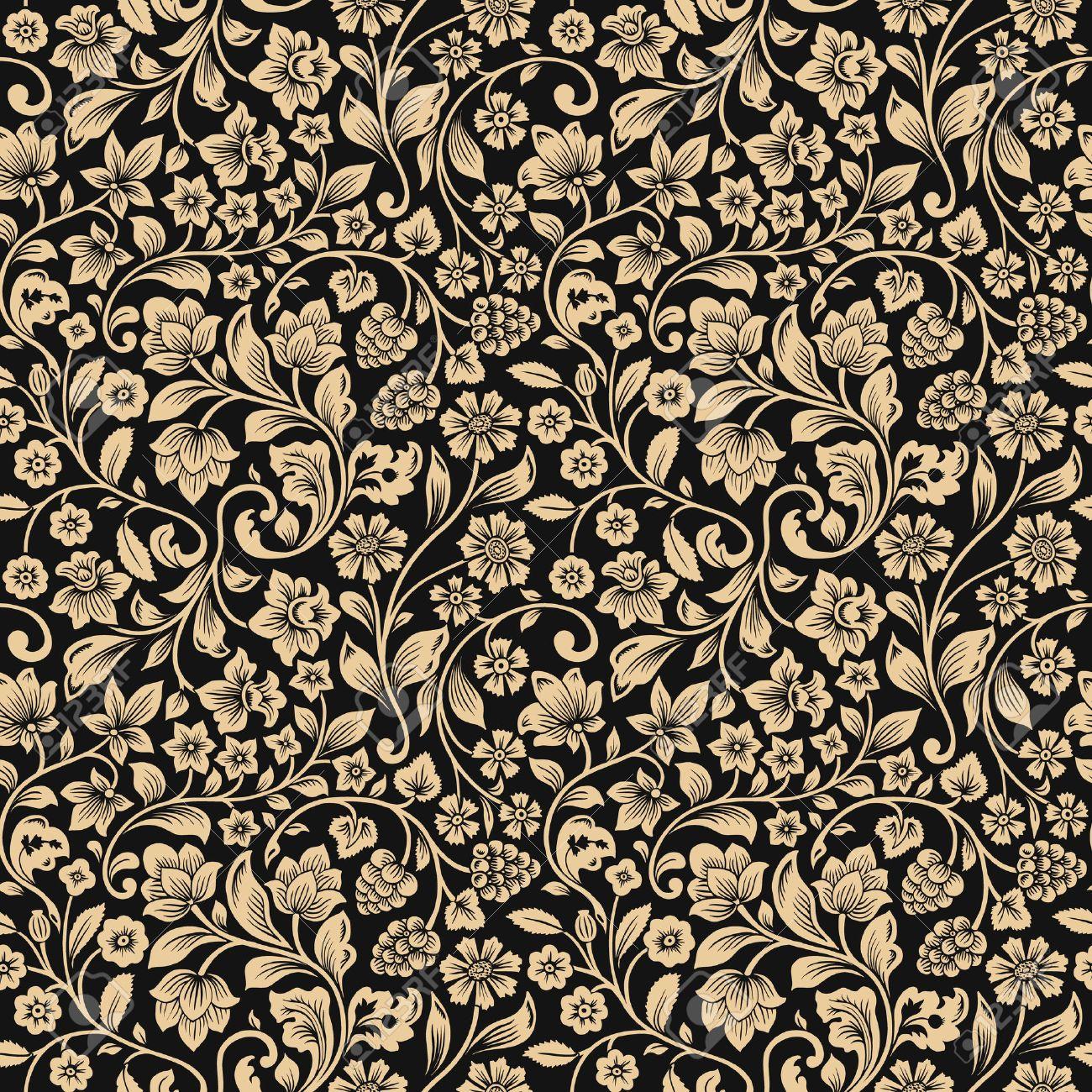 Vintage Floral Pattern On Black Digital Art By Marianna Mills