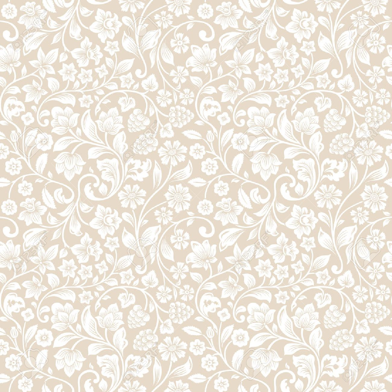Vector Seamless Vintage Floral Pattern Stylized Silhouettes