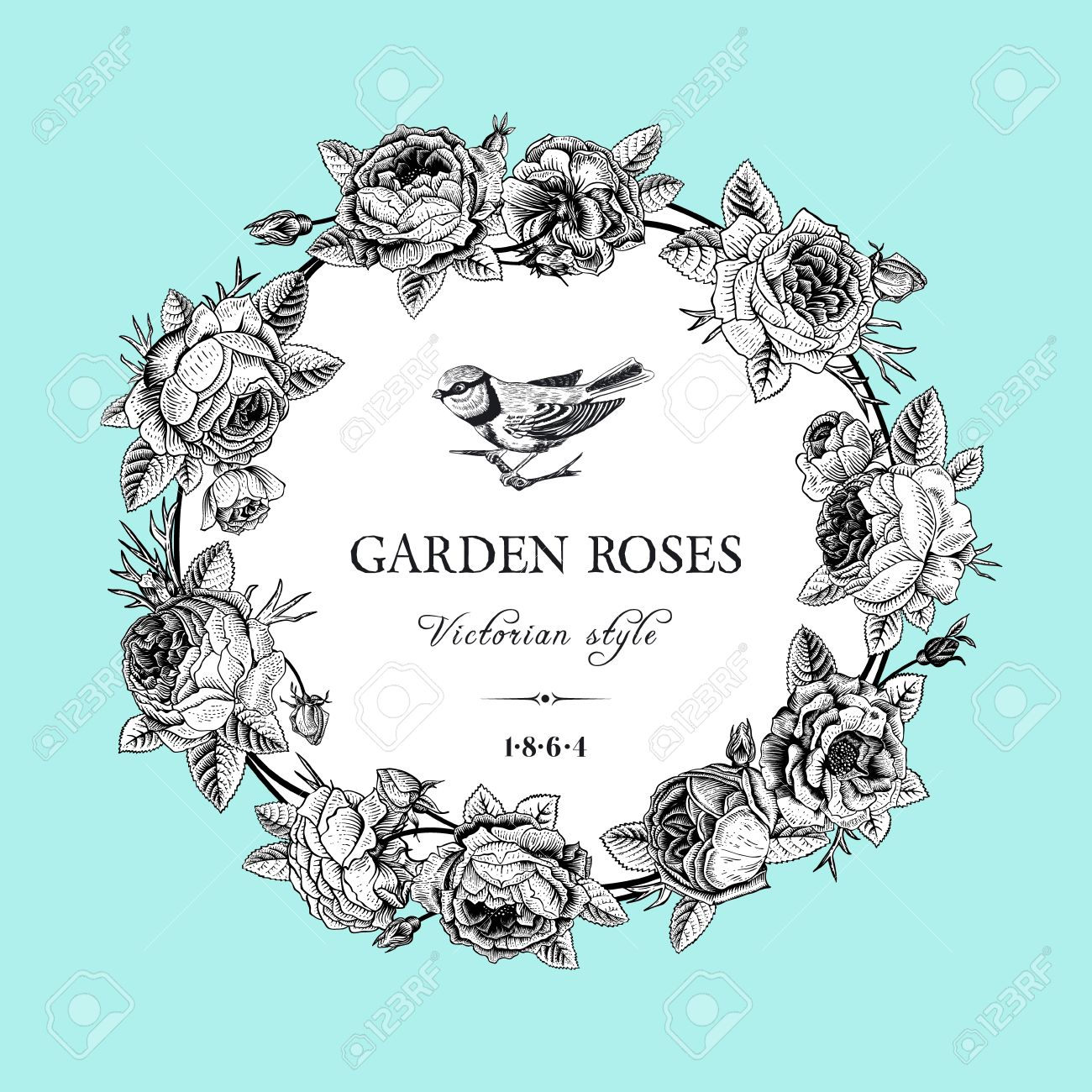 Vintage Vector Card With Round Black And White Frame Of Garden Roses On Mint Background Victorian