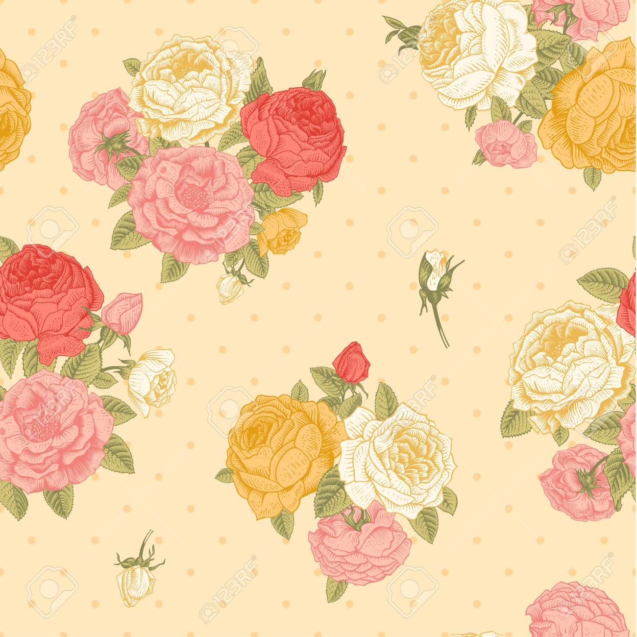 Vector Seamless Vintage Floral Pattern Bouquets Of Pink Yellow