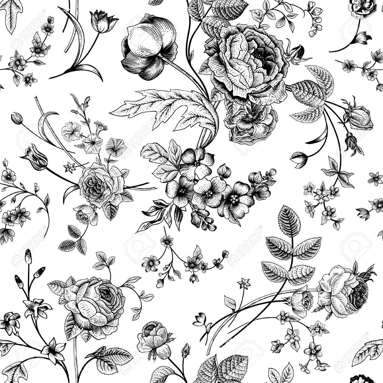 Seamless Vector Vintage Pattern With Victorian Bouquet Of Black