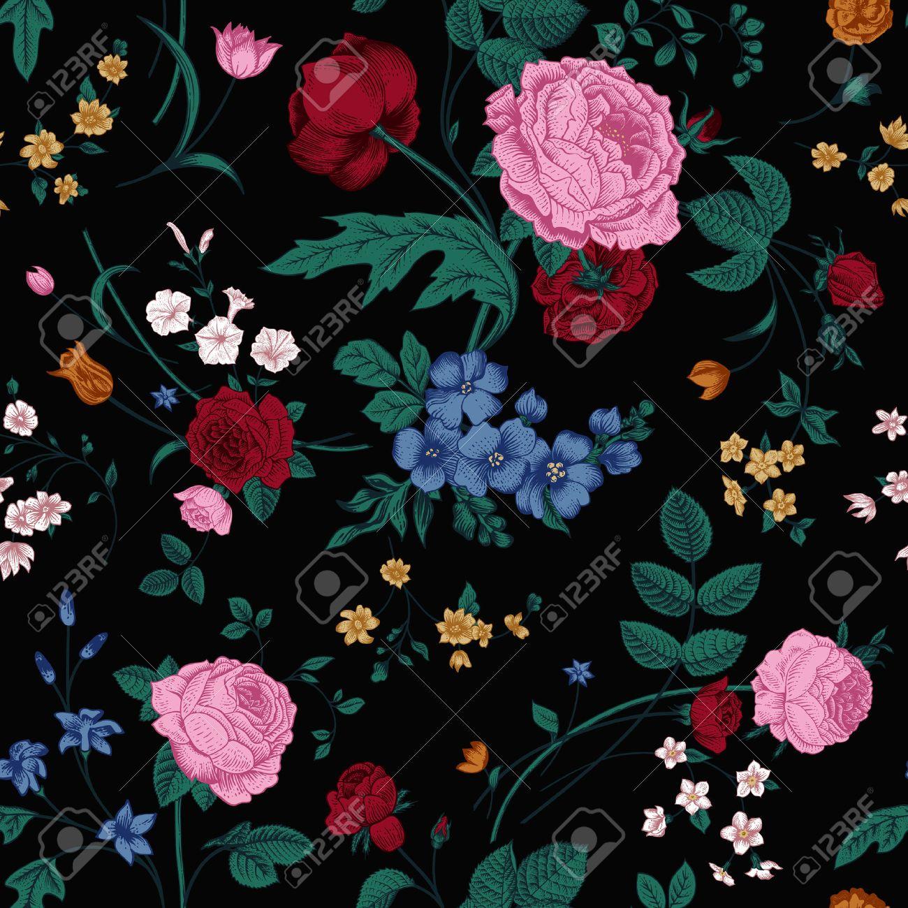 Яркие цветы на черном фоне