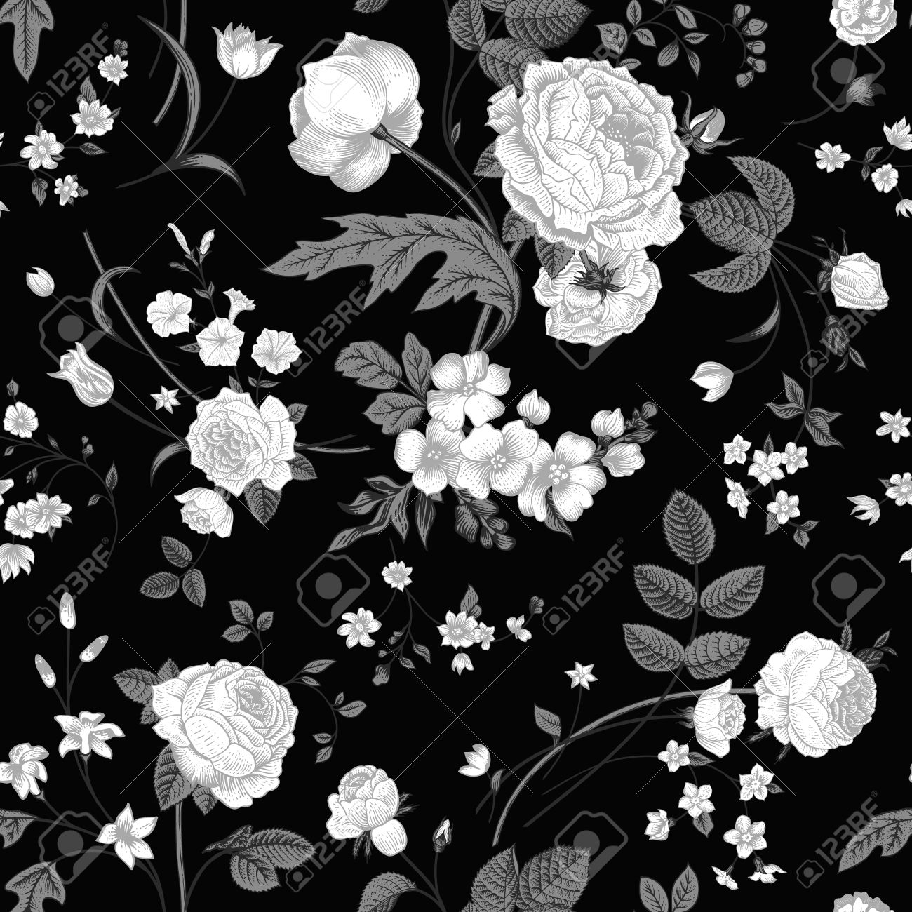 Seamless Vector Vintage Pattern With Victorian Bouquet Of White Flowers On A Black Background Roses