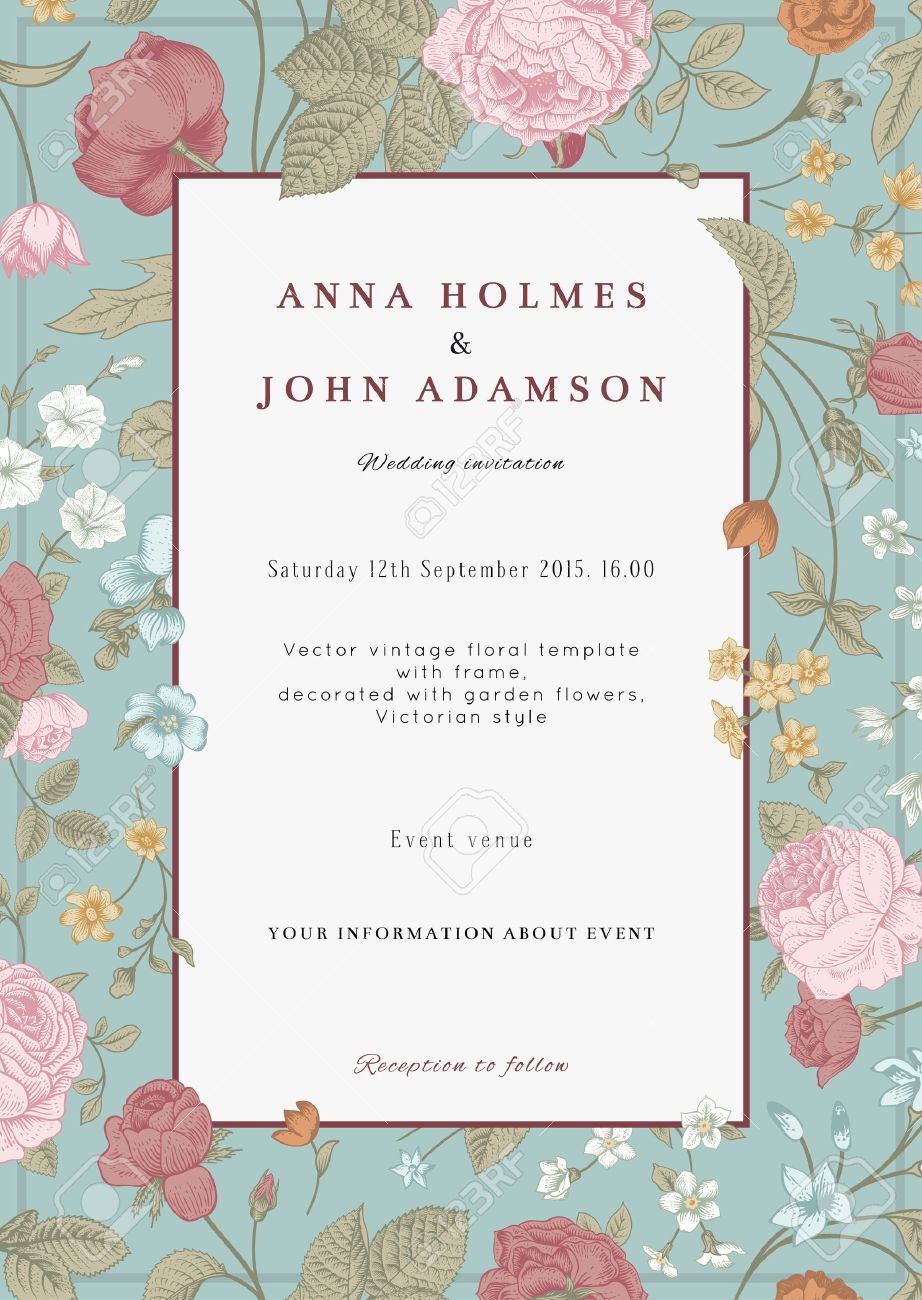 Vector Vertical Vintage Floral Wedding Invitation Card With Frame ...