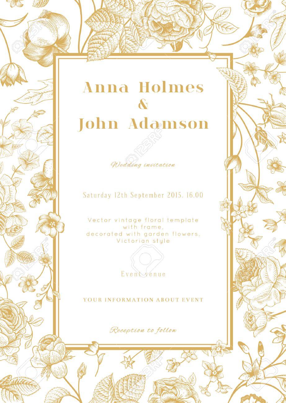 Vector Vertical Vintage Floral Wedding Elegant Card With Frame