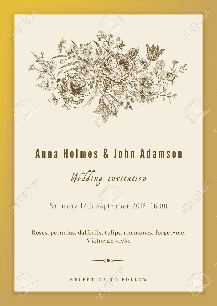 Vertical Vector Vintage Wedding Invitation. Floral Bouquet With ...