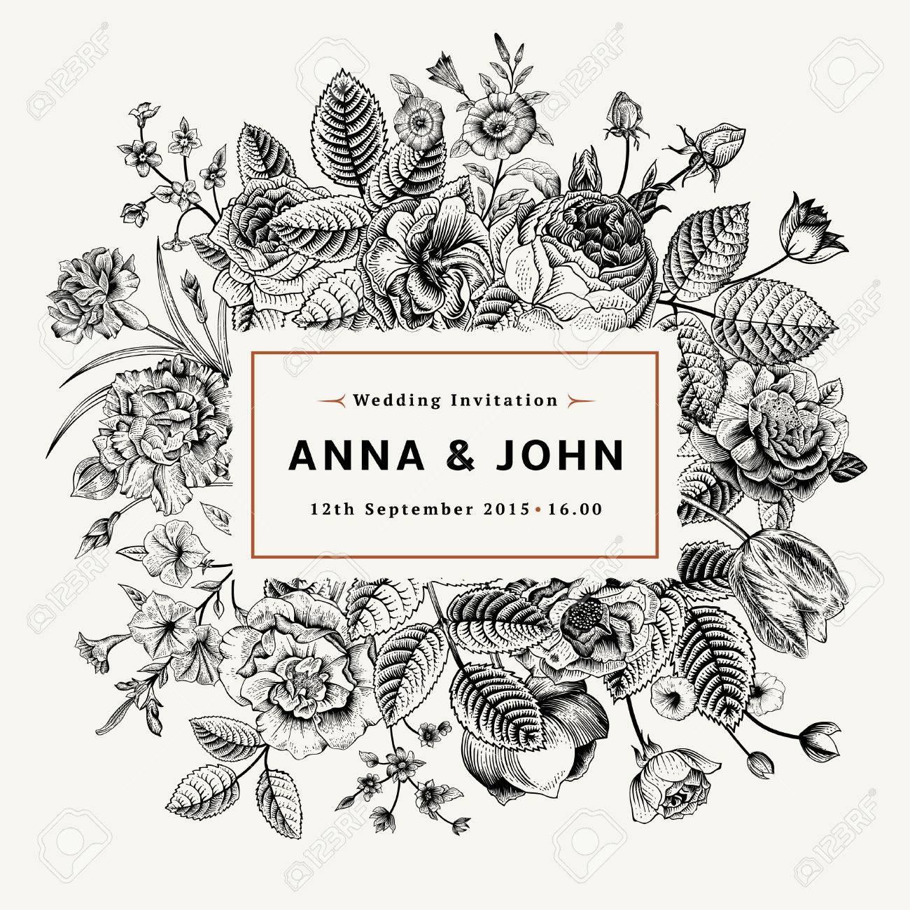 Vintage Elegant Wedding Invitation With Summer Flowers Black