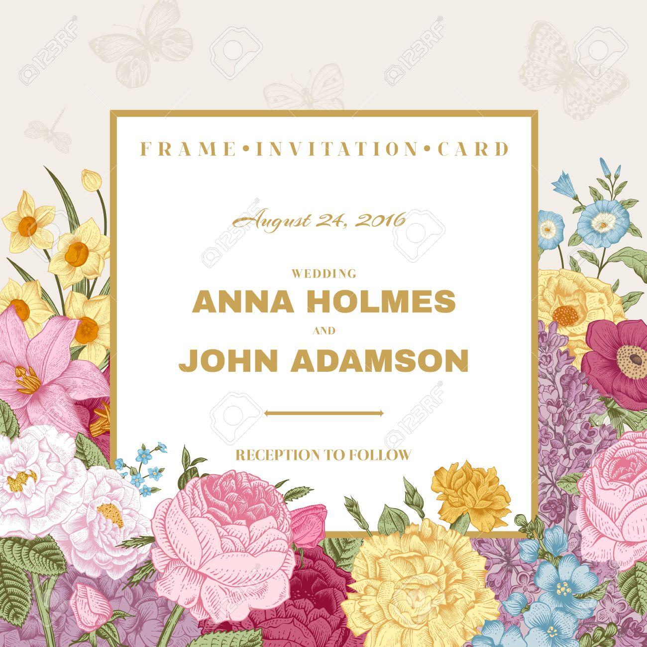 Vintage Wedding Invitation. Summer Card. Blossoming Garden ...