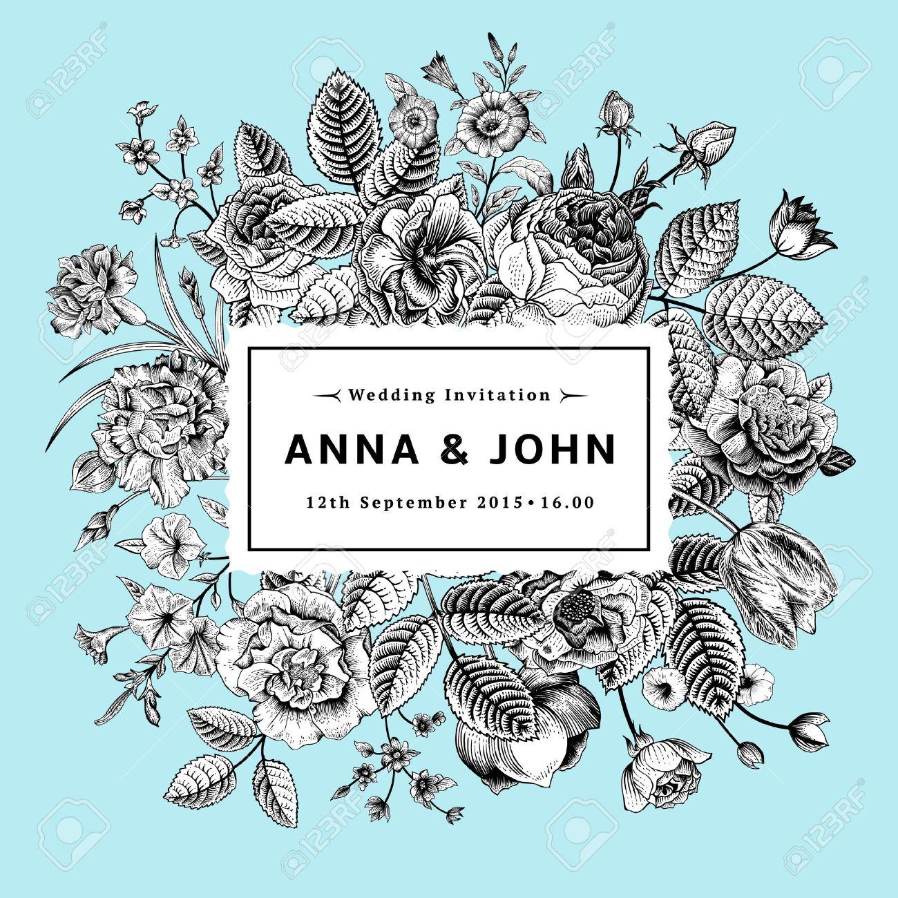 Background image 8841 - Vintage Elegant Wedding Invitation With Black And White Summer Flowers On Mint Background Vector Illustration