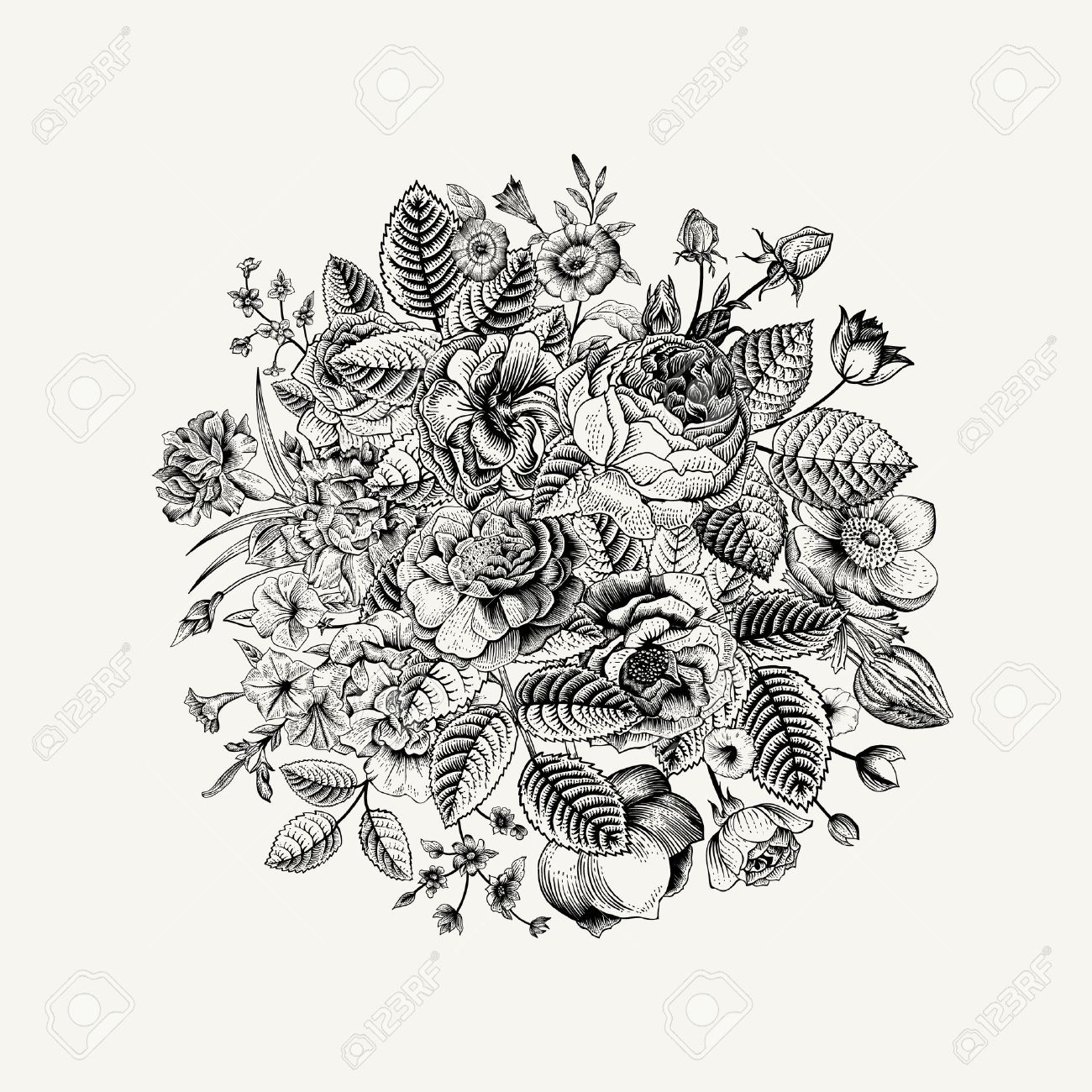 Vintage Floral Vector Bouquet With Black White Summer Garden