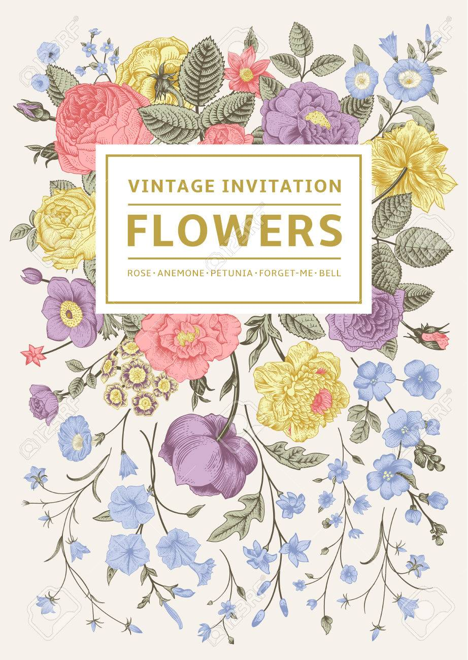 Vertical invitation vintage greeting card with colorful flowers banco de imagens vertical invitation vintage greeting card with colorful flowers vector illustration pastel color stopboris Image collections